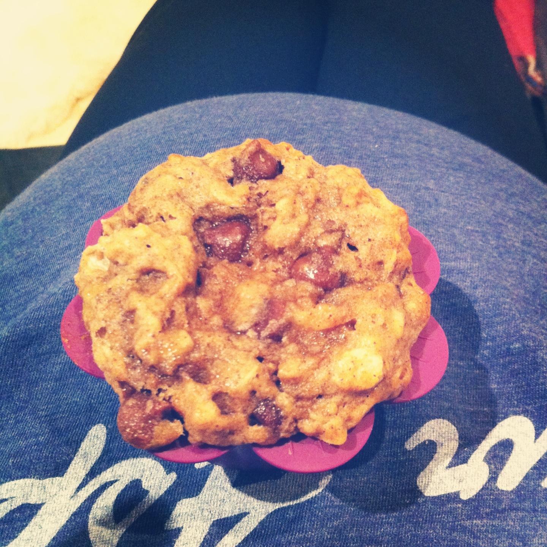 Spelt banana chocolate chip muffins