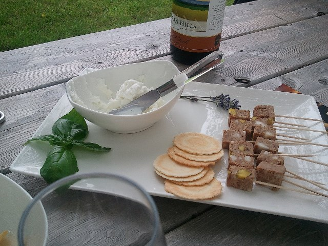 Goat cheese and pate.