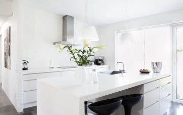 All white can make a small kitchen appear larger.