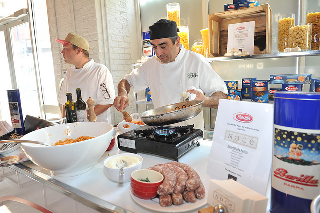 Barilla Pasta Station with the chefs from Noce.  Photo courtesy of NKPR