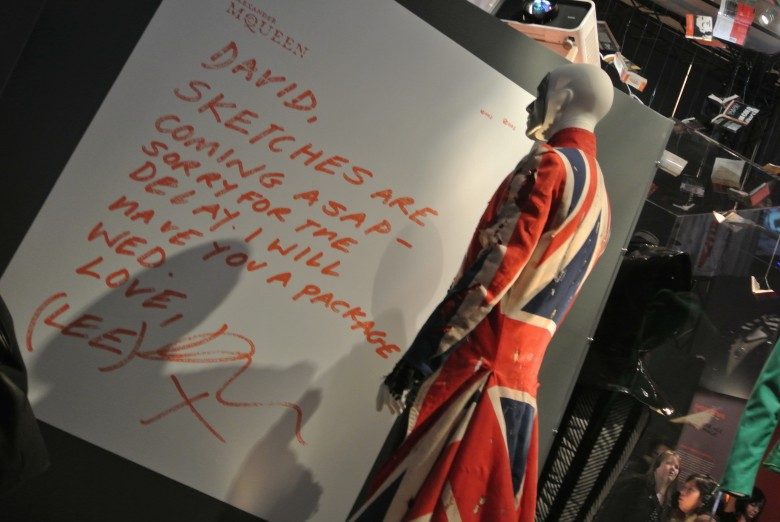 Alexander McQueen's Union Jack Coat made for David Bowie. David Bowie is, exhibition at the Art Gallery of Ontario, 2013. Photo credit: Sonya D.