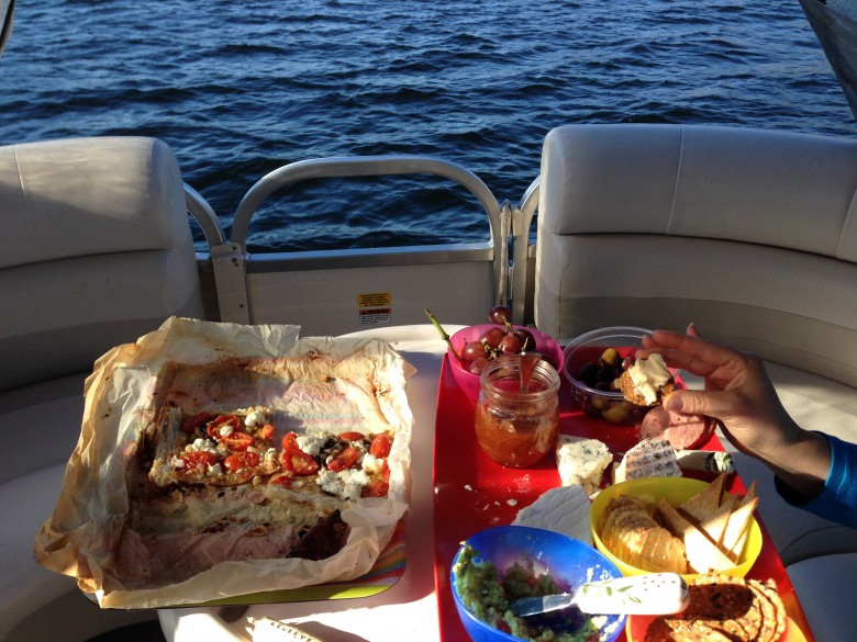 appetizers on a pontoon boat