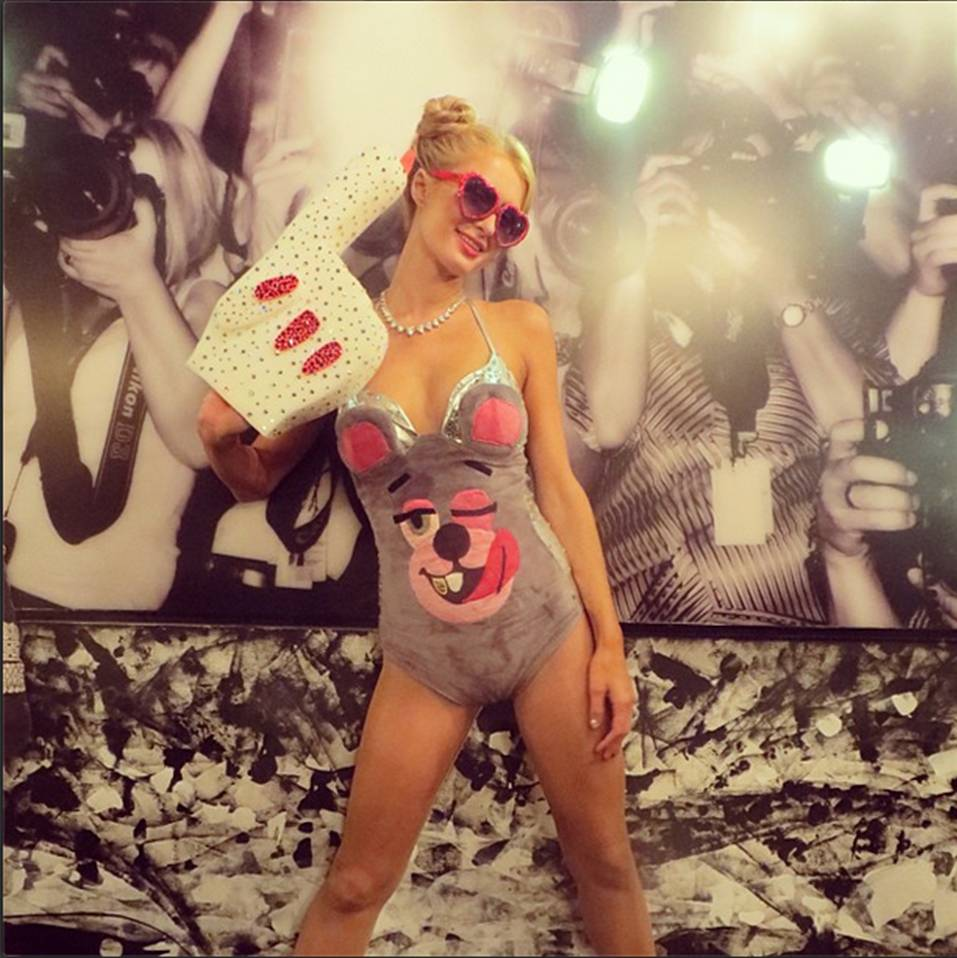 "Paris Hilton as ""Miley Cyrus at 2013 VMAs"""