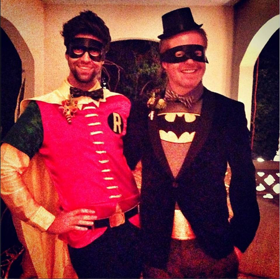 "Jesse Tyler Ferguson as ""Batman"" and husband Justin Mikita as ""Robin"""