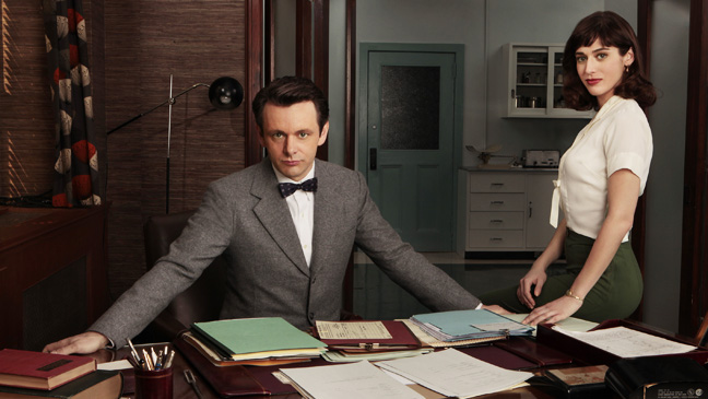 Masters of Sex Pictured: Michael Sheen as Dr. William Masters, Lizzy Caplan as Virginia Johnson Photo Credit: Craig Blankenhorn/ Showtime © 2012 Showtime Networks, LLC.  All rights reserved.