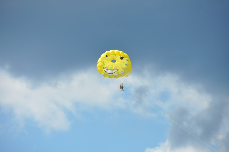 I felt like asking the parachute-How can you smile at a time like this?