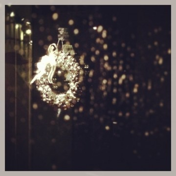 My Arctic silver bell wreath in the rain.
