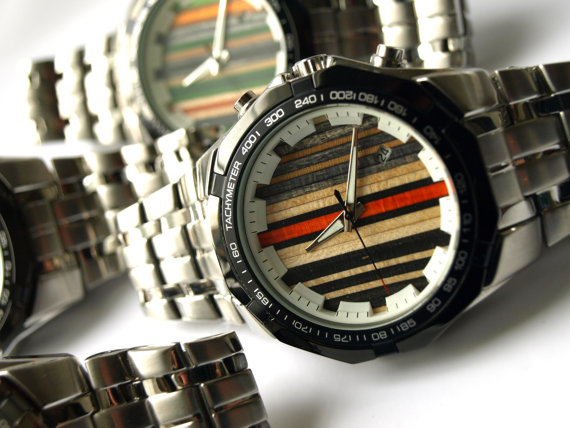 Cool watches by SecondShot -  made with recycled skateboard materials. Made in Canada.