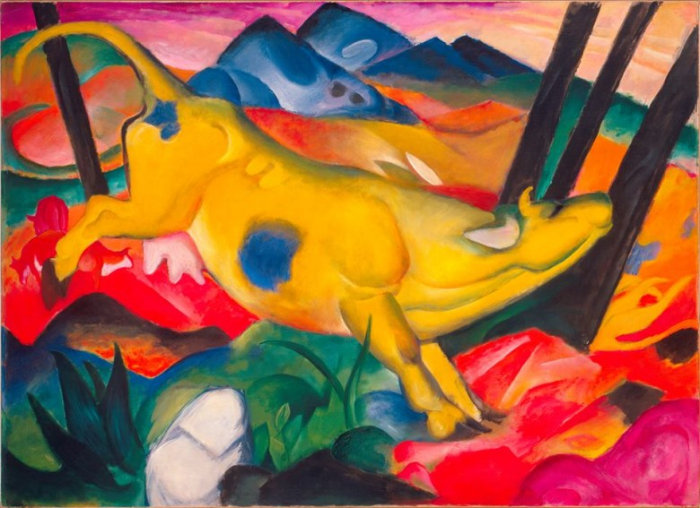 Franz Marc, Yellow Cow (Gelbe Kuh), 1911. Oil on canvas, 55 3/8 x 74 1/2 inches (140.5 x 189.2 cm). Solomon R. Guggenheim Museum, New York, Solomon R. Guggenheim Founding Collection