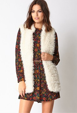 Faux fur vest in cream from Forever 21, $35.80
