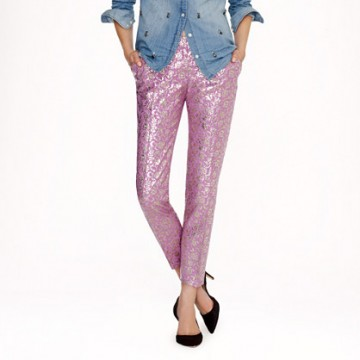 J Crew Metallic Lilac Jacquard Cafe Pants, on sale for $149.00