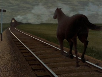 Alex Colville  Horse and Train, 1954 Glazed oil on hardboard Art Gallery of Hamilton, Gift of Dominion Foundries and Steel Limited (Dofasco), 1957 ©A.C. Fine Art Inc.