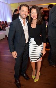 Jason Priestley and Tatiana Maslany. Stand Up 2 Cancer Toronto. Photo Credit: Ryan Emberley/AP Images