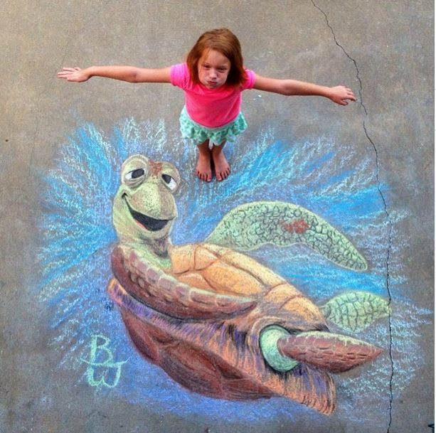 This Dad's Chalk Art Puts Yours To Shame