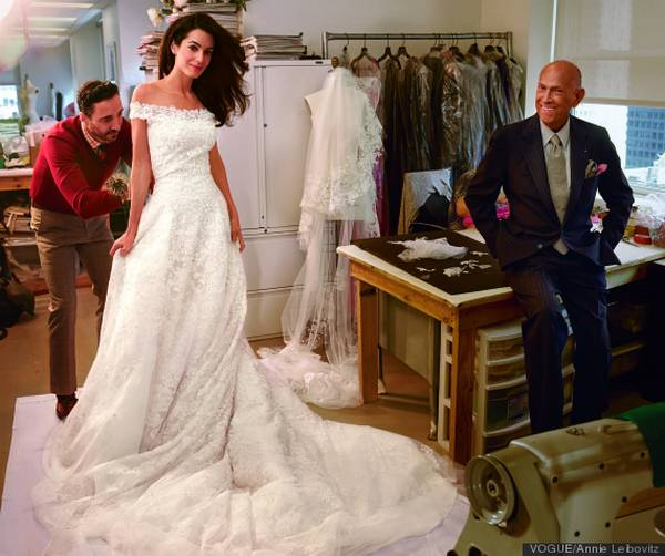 Amal Clooney during her last bridal fitting with Oscar de la Renta.