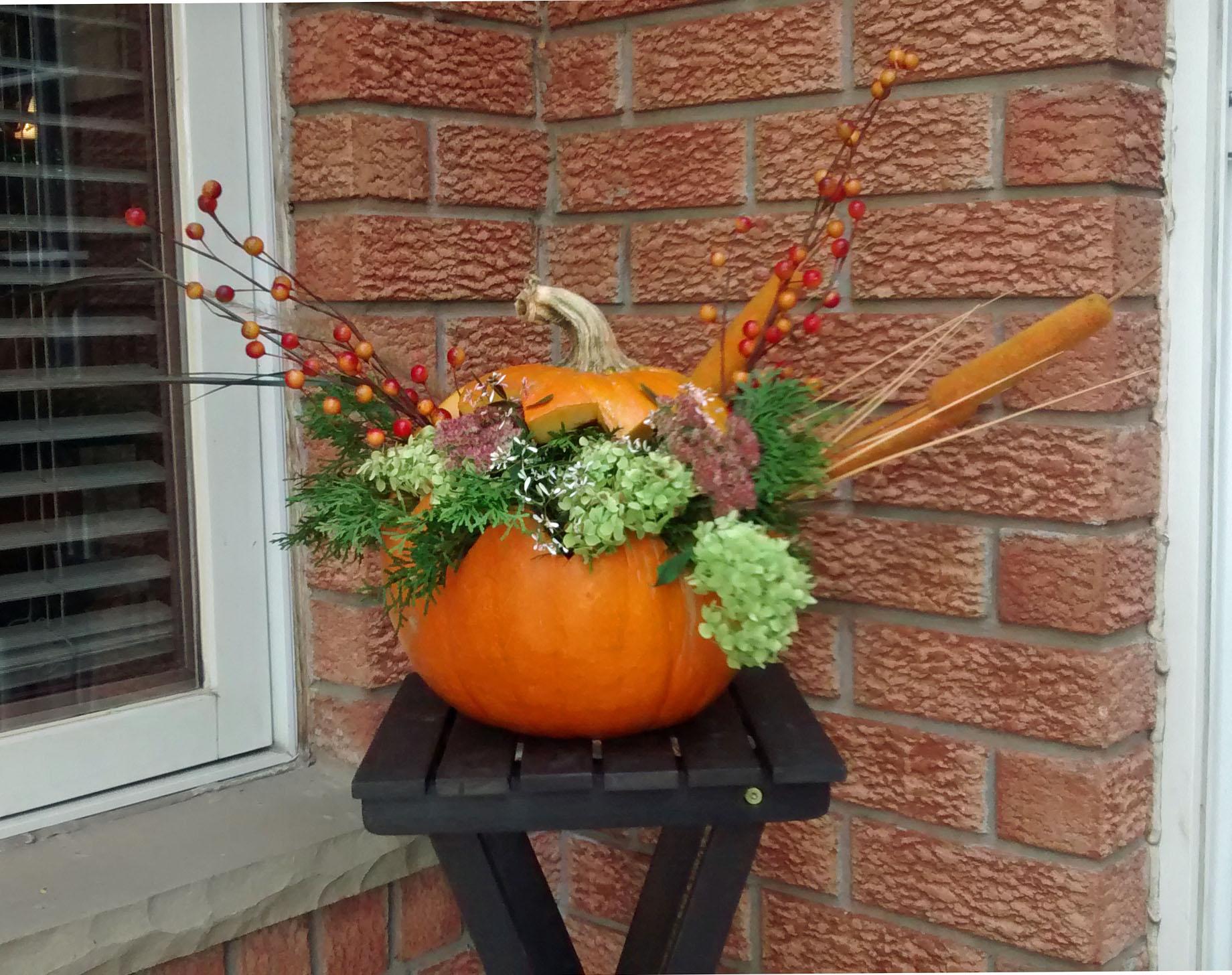 Flower Basket Jack-O-Lantern: DIY Natural Fall Centerpiece