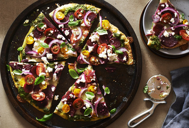 UrbanKitchen: Beet, Pesto & Goat Cheese Pizza
