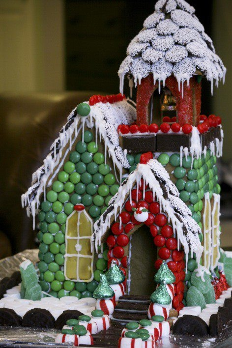 covered in candy gingerbread house