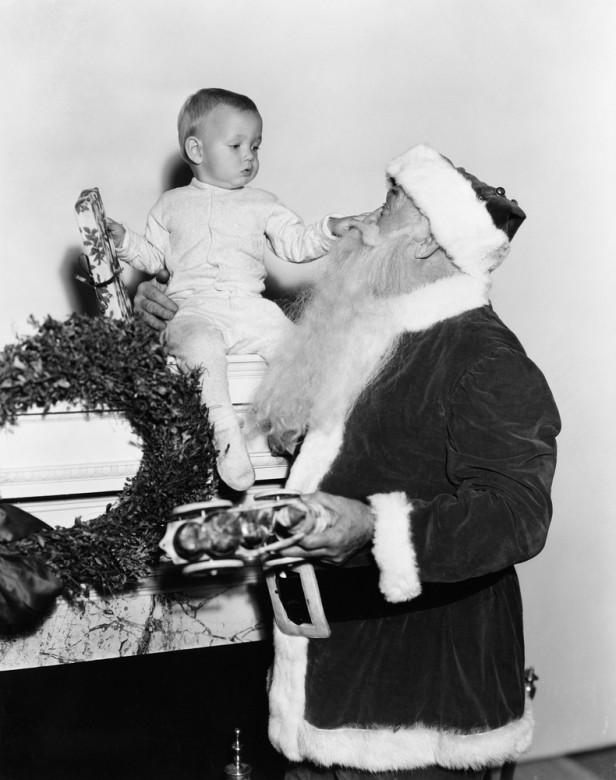 santa and baby