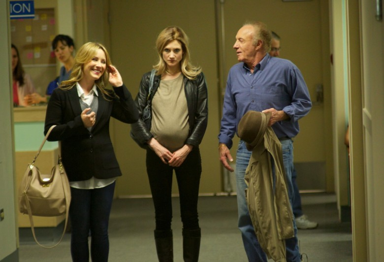 Ruth's sister, Hilary (Lisa Durupt) and her father, Walter (James Caan), take Ruth (Sonja Bennett) for an ultrasound as a surprise present. Photo by Michael Hall. Courtesy of Mongrel Media.