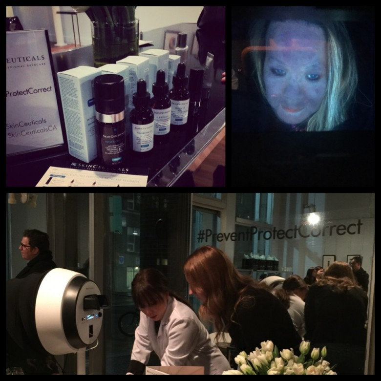Here I'm getting my skin analyzed by the experts at SkinCeuticals. Scary.