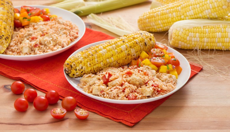 Taco Chicken - Rice Skillet with Tomato Mango Salsa and Roasted Corn-020