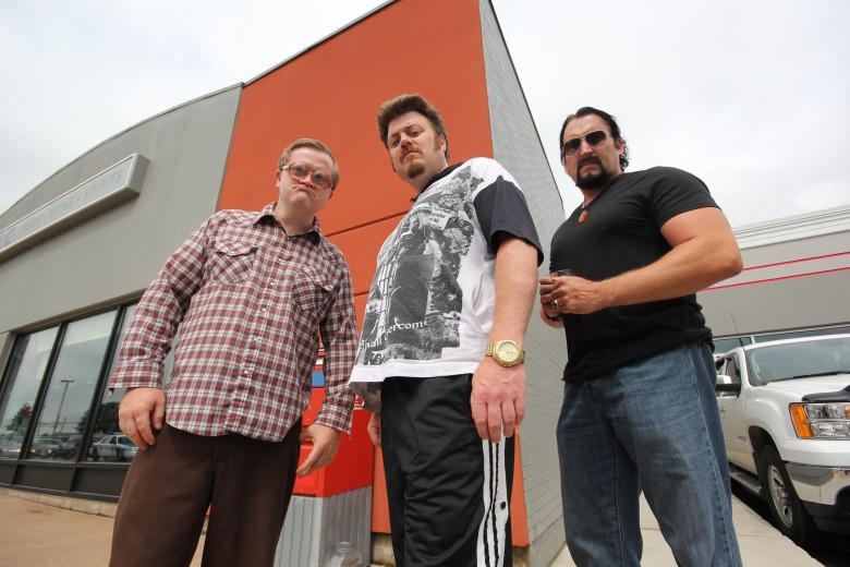 """Mike Smith (left), Robb Wells (center) and John Paul Tremblay (right) in season 8 of """"Trailer Park Boys."""" Photo courtesy of Netflix"""