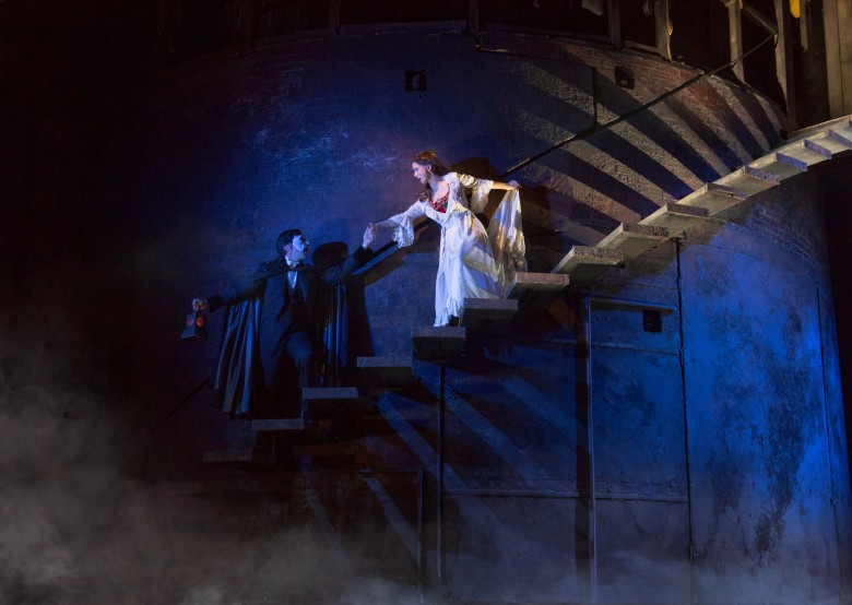 """The Journey"" (From L) Chris Mann as The Phantom and Katie Travis as Christine Daaé. Photo: Matthew Murphy."