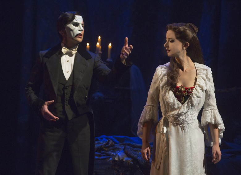 """Music of the Night"" (From L) Chris Mann as The Phantom and Katie Travis as Chris tine Daaé. Photo: Matthew Murphy"
