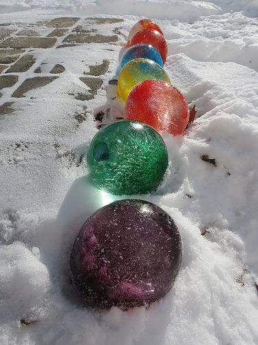 DIY coloured ice balls image found on pinterest