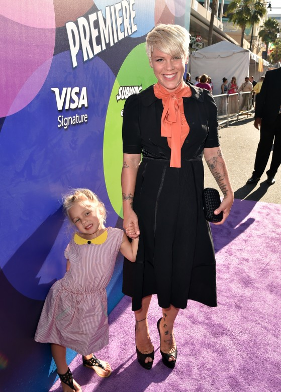pink with her daughter at primere of inside out