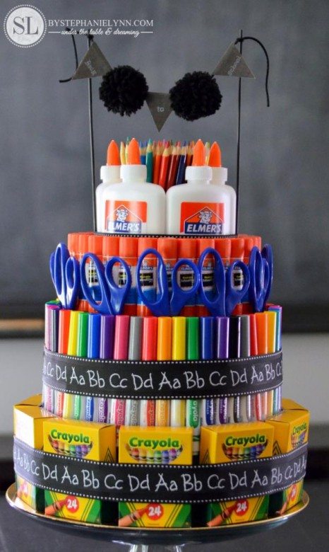 school supply cake, school supplies, classroom supplies, teacher gifts, holiday teacher gifts, gifts for your teacher