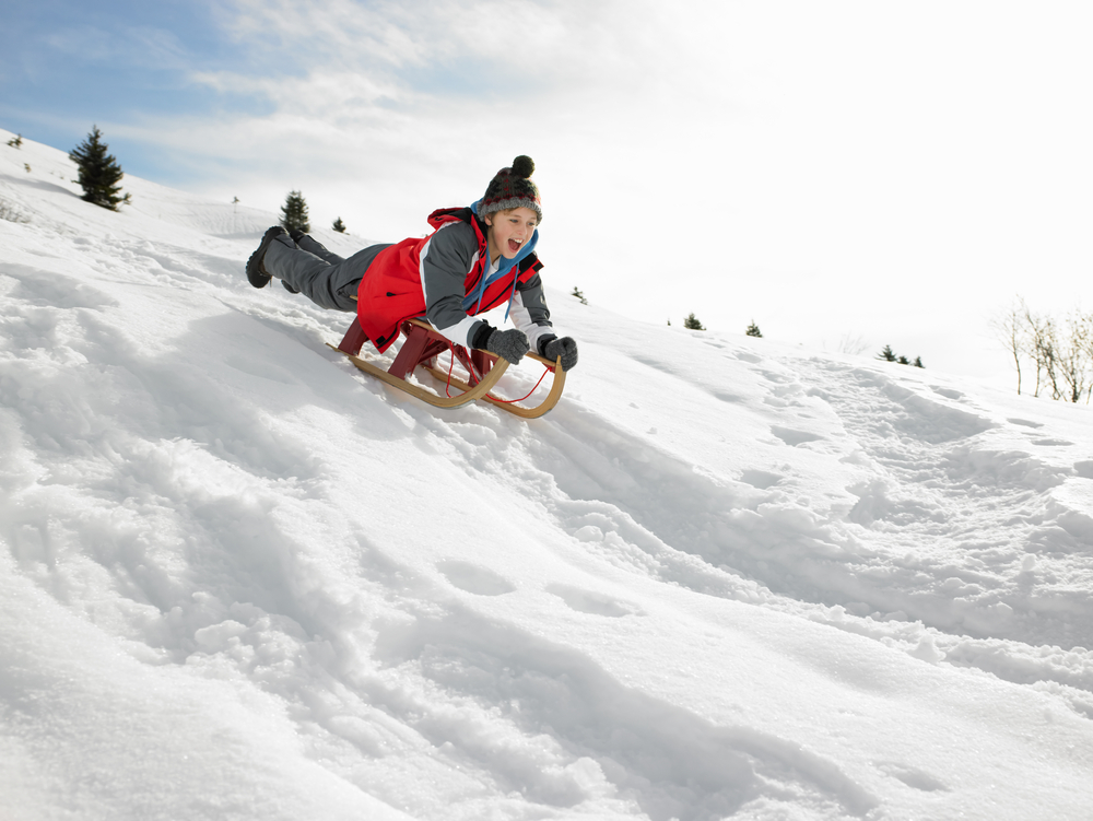 toboggan, winter, having fun, winter fun