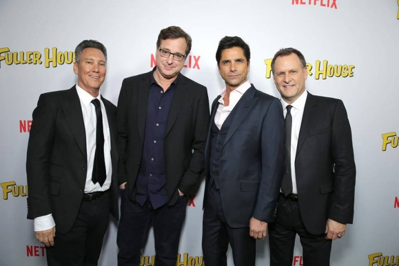 """Netflix Premiere of """"Fuller House"""" Exec. Producer Jeff Franklin, Bob Saget, John Stamos and Dave Coulier seen at Netflix Premiere of """"Fuller House"""" at The Grove - Pacific Theatres on Tuesday, February 16, 2016, in Los Angeles, CA. (Photo by Eric Charbonneau/Invision for Netflix/AP Images)"""