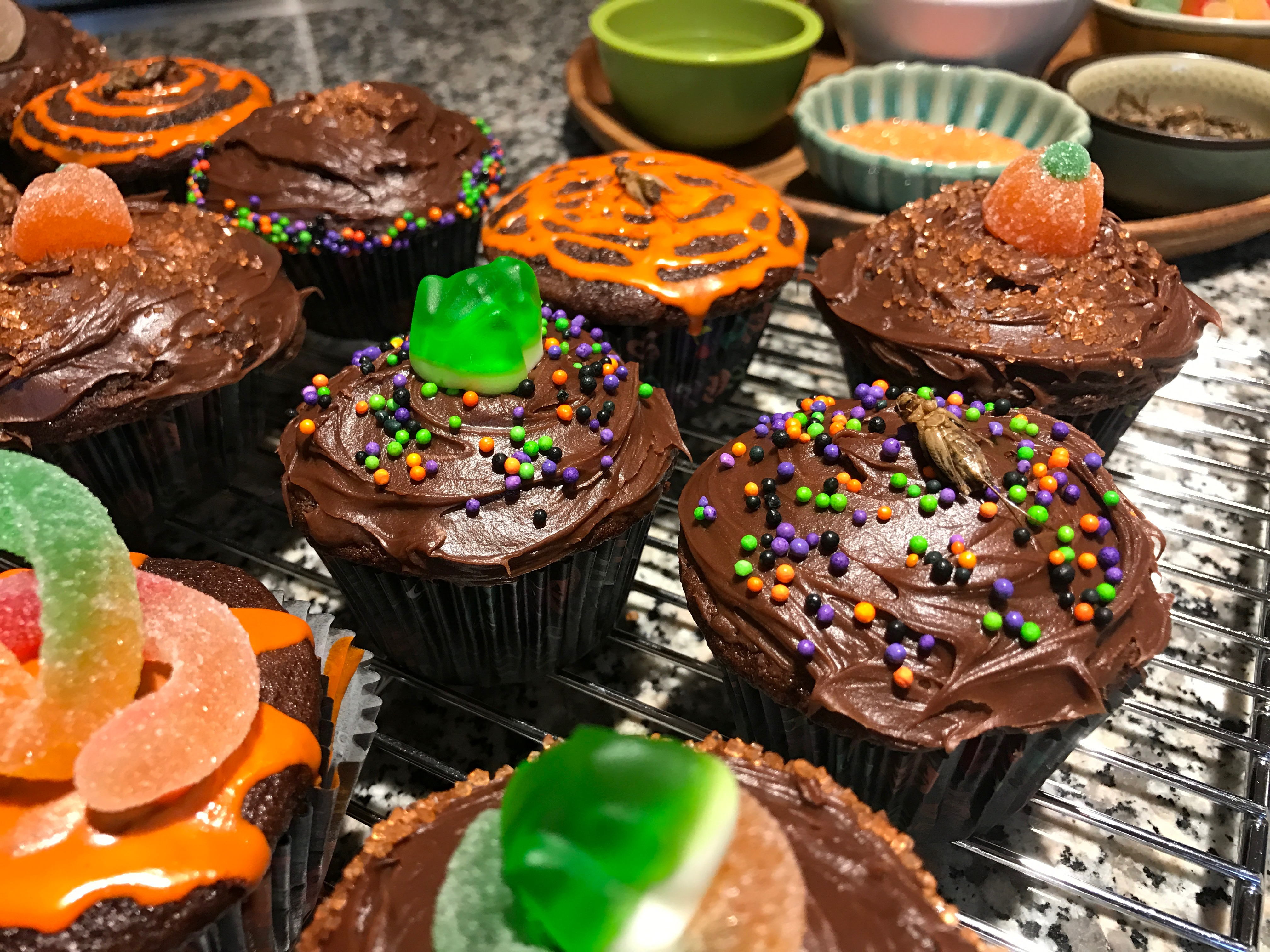Creepy Crawly Halloween Cupcakes